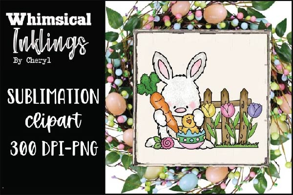 free Bunny-Easter Sublimation Clipart