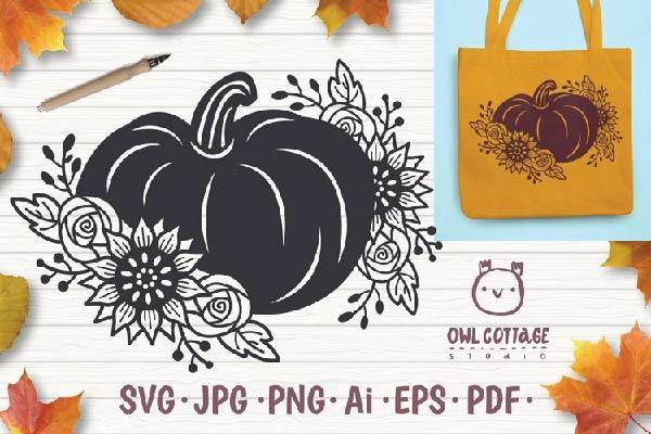 Floral Pumpkin svg, Halloween Floral Decor svg free