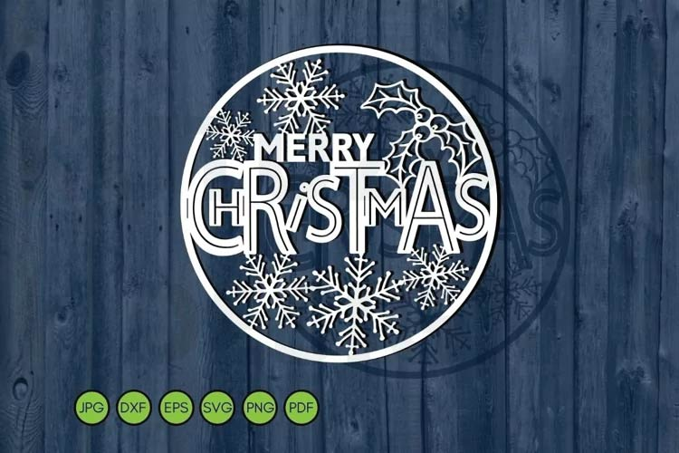Merry Christmas round svg free