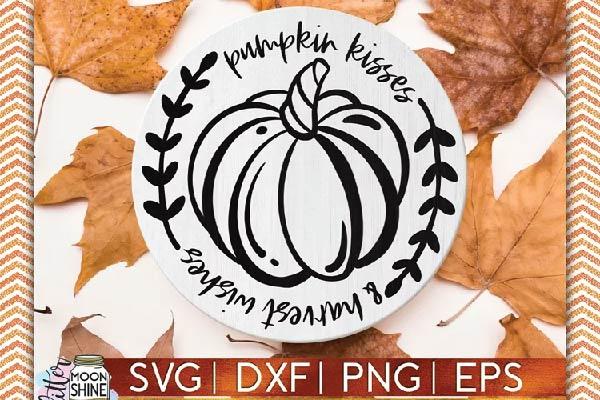Pumpkin Kisses Harvest Wishes SVG free