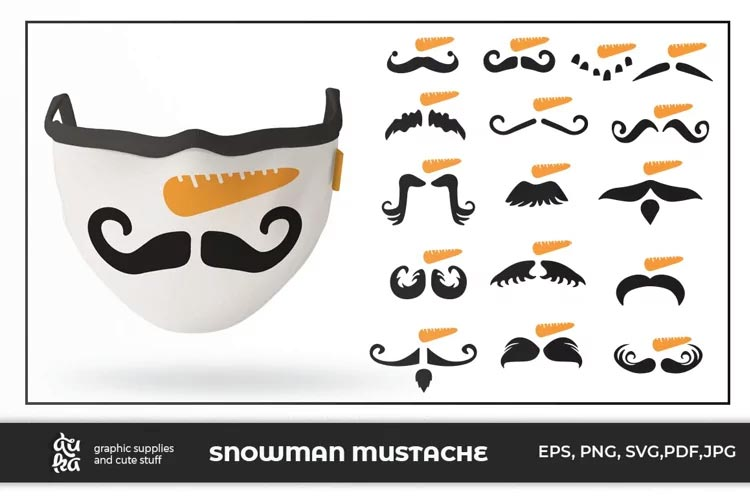 16 Snowman Mustache for Mask free
