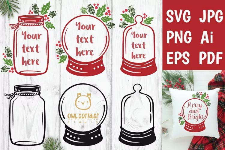 Christmas Jar and Snow Globe SVG free