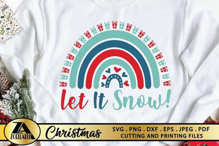 Let It Snow SVG Christmas Rainbow SVG free