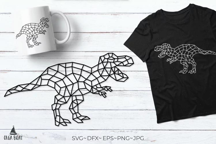 T rex svg Dinosaur svg Trex Geometric