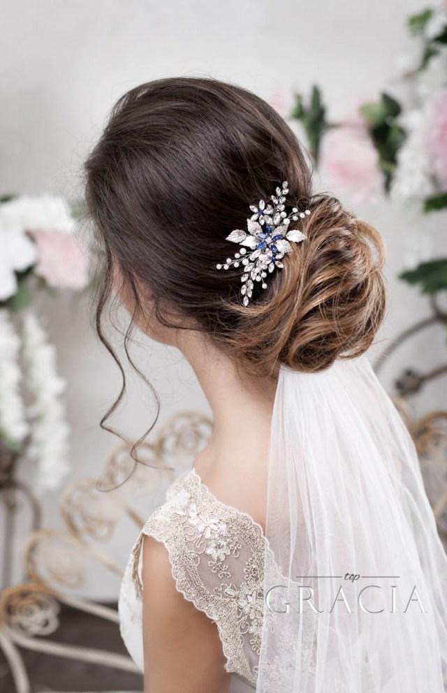 panagiota navy royal blue crystal flower bridal hair comb