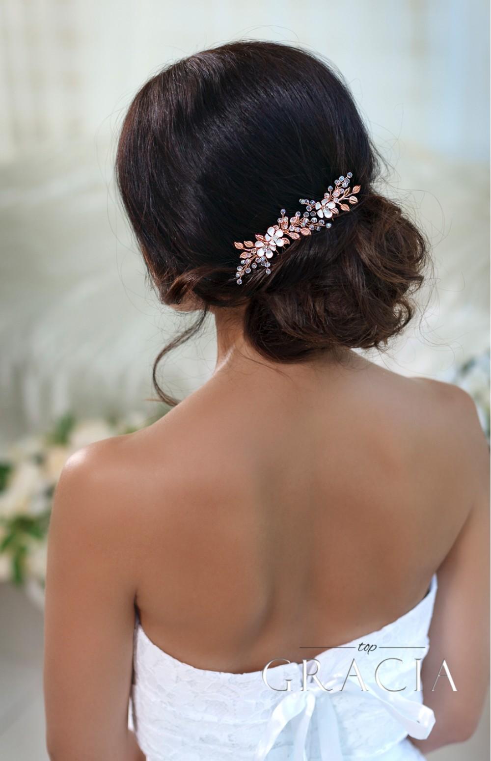 kassandra rose gold wedding hair accessories flower bridal hair pins by topgracia