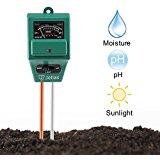 Soil pH Meter, Jellas 3-in-1 Moisture Sensor Meter