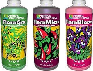General Hydroponics Flora Grow, Bloom, Micro
