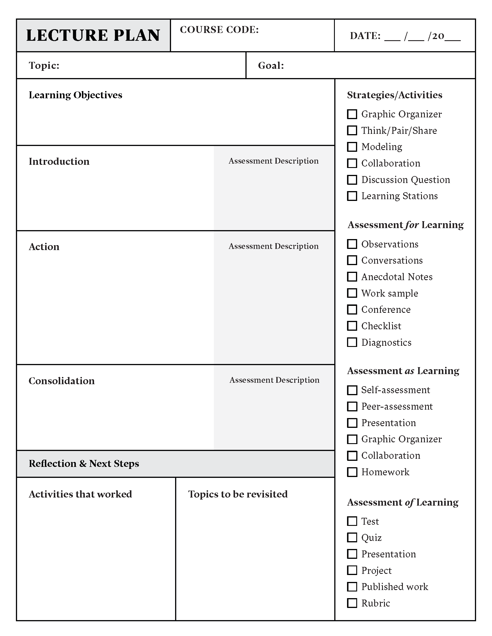 Lesson Plan Template Download In Word Or