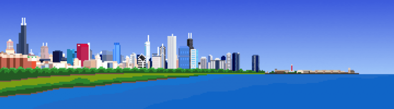 Chicago Skyline Panorama Pixel