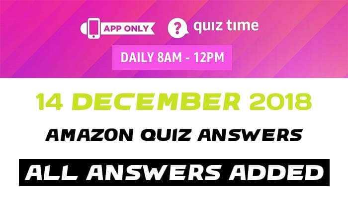 amazon quiz 14 december 2018 answers