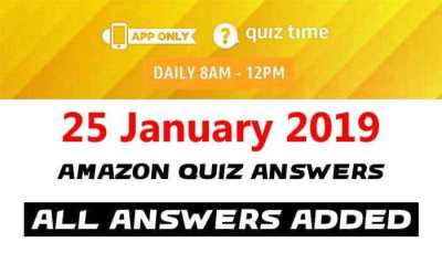 Amazon Quiz 25 January 2019 Answers