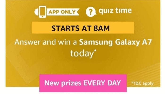 Amazon Quiz 3 February 2019 Samsung Galaxy A7