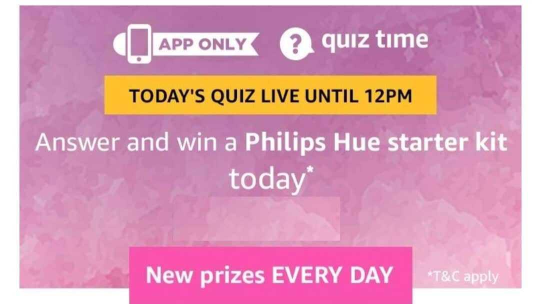 Amazon Quiz 14 February 2019 Answers - Philips Hue Stater Kit
