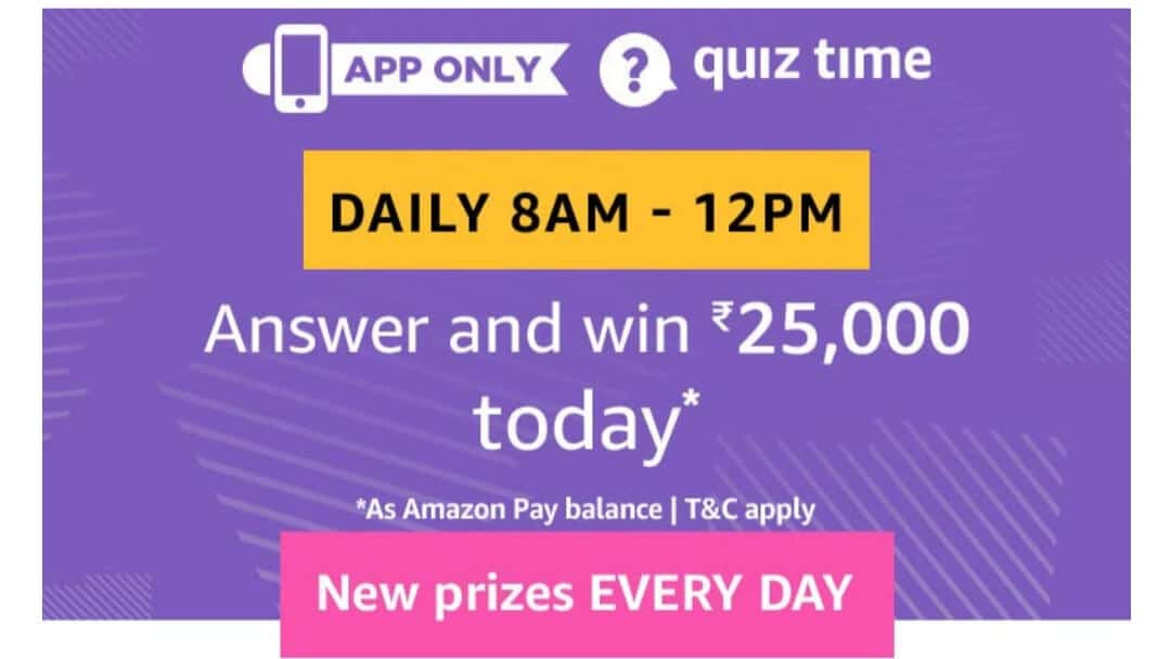 Amazon Quiz 18 February 2019 Answers - Win Rs.25000 Pay Bal