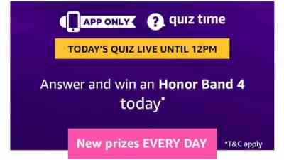 Amazon Quiz 19 March 2019 Answers - Win Honor Band 4