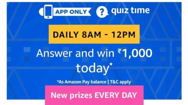 Amazon Quiz 12 April 2019 Answers - Rs1000 Pay Balance