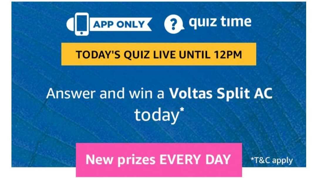 Amazon Quiz 23 April 2019 Answers - Win Voltas Split AC