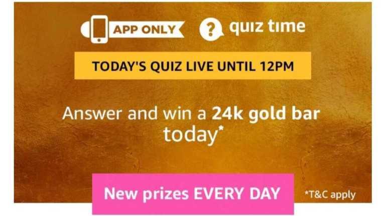 Amazon Quiz 6 June 2019 Answers - Win 24K Gold Bar