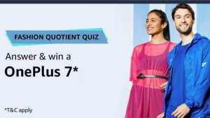 Amazon Fashion Quotient Quiz Answers - Win Oneplus 7