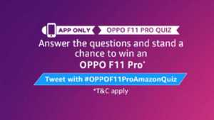 Amazon OPPO Quiz Answers - Win OPPO F11 Pro