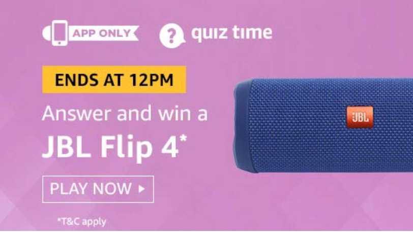 Amazon Quiz 23 July 2019 Answers - Win JBL Flip 4