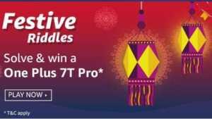 Amazon Festive riddles Quiz Answers Win - Oneplus 7T Pro
