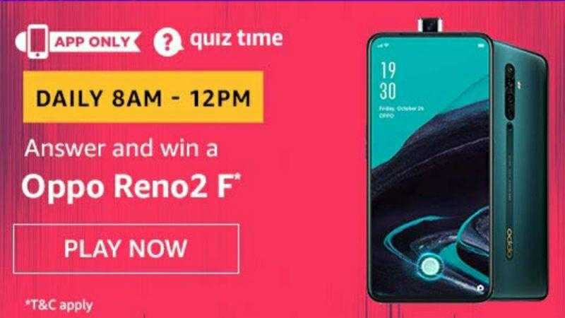 Fastest Amazon Quiz 10 November 2019 Answers Win Oppo Reno2 F