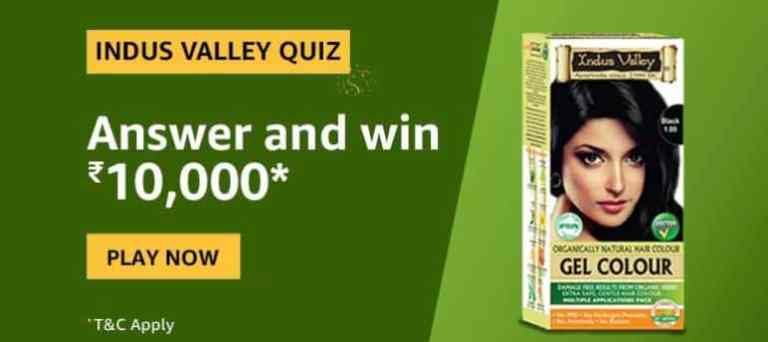 Amazon Indus Valley Quiz Answers Win - Rs.10000