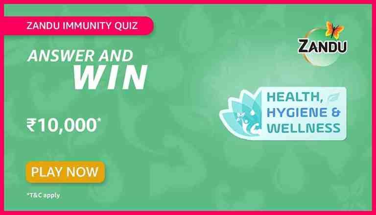 Amazon Zandu Immunity Quiz Answers For Today Win 10K
