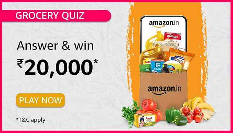 Amazon Grocery Quiz Answers Today Win 20000 Pay Balance