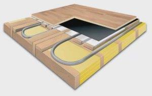 пирог водяного теплого пола на деревянном основании деревянного дома