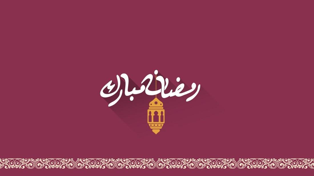 Ramadan Mubarak Wallpaper with long shadow 1920 by 1080