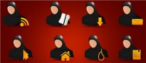 Image of Web and Directory Islamic Sisters Themed Icon Set
