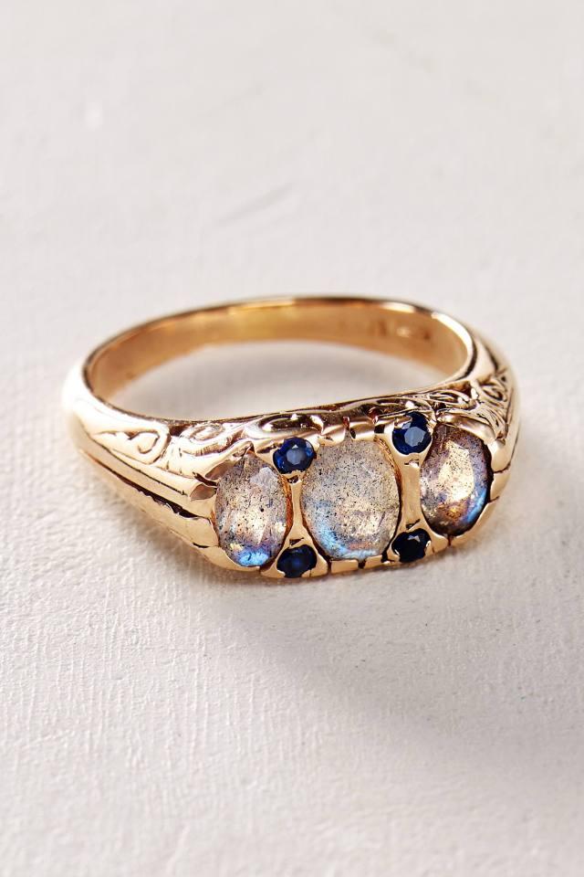 Labradorite and Sapphire Ring in 14k Rose Gold by Arik Kastan