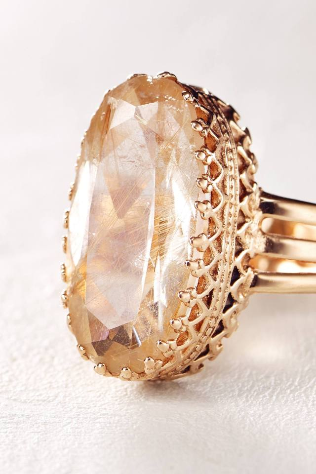 Rutilated Quartz Ring in 14k Rose Gold by Arik Kastan