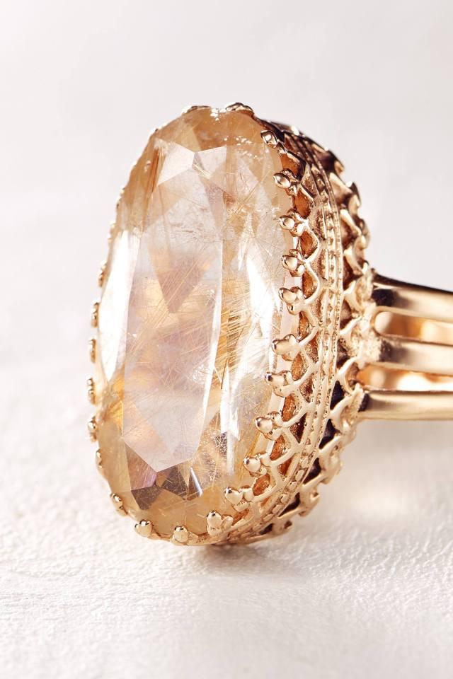Rutilated Quartz Ring in 14k Rose Gold by Arik Kastan