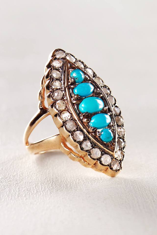 Turquoise and Diamond Marchioness Ring in 14k Rose Gold by Arik Kastan