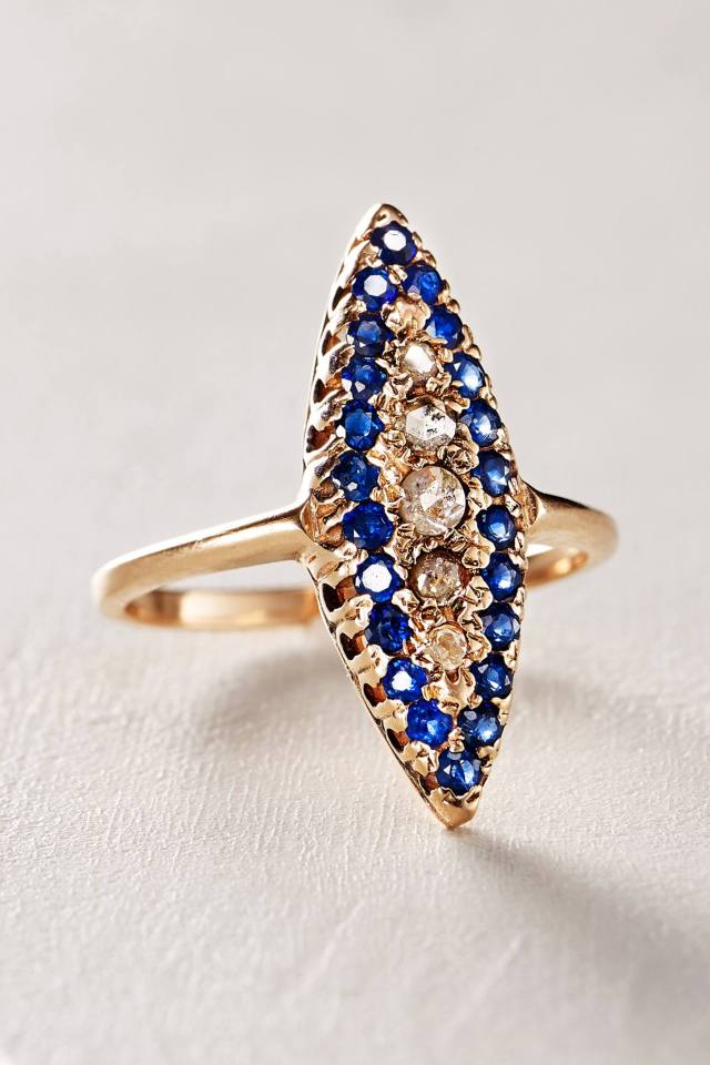 Sapphire and Diamond Navette Ring in 14k Rose Gold by Arik Kastan