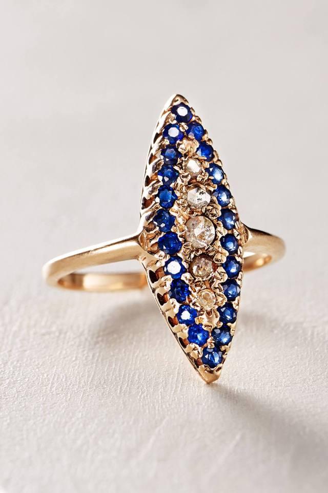 Sapphire and Diamond Navette Ring in 14k Rose Gold by Arik Kastan