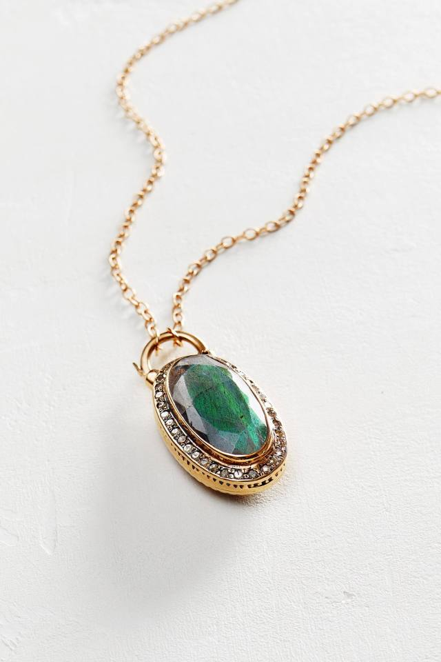 Moonstone and Labradorite Scepter Pendant Necklace in 14k Rose Gold by Arik Kastan