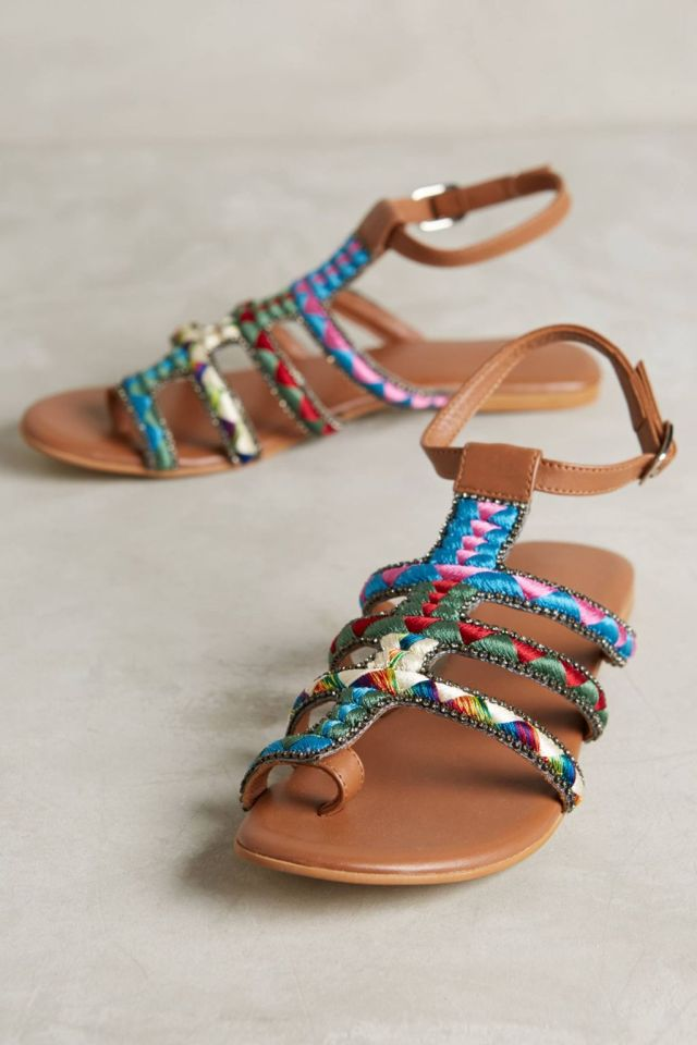 Embroidered Sandals by Deepa Gurnani