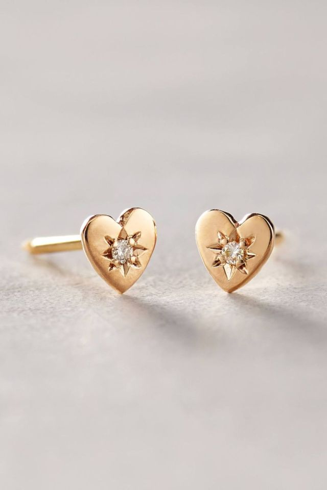 Diamond Mini Heart Studs by Charlie and Marcelle