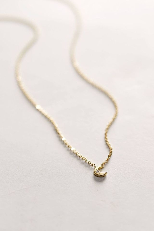 Diamond Mini Moon Necklace by Charlie and Marcelle