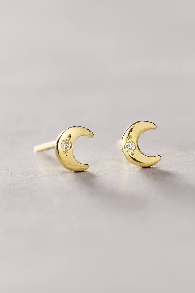 Diamond Mini Moon Studs by Charlie and Marcelle