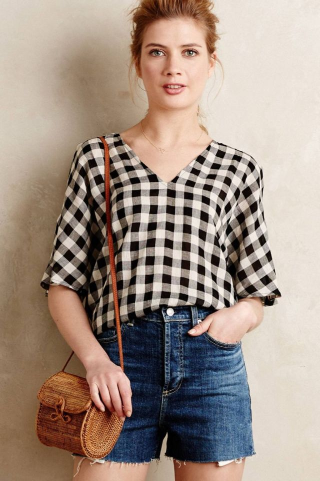 Gingham Open-Shoulder Top by Tyhlo