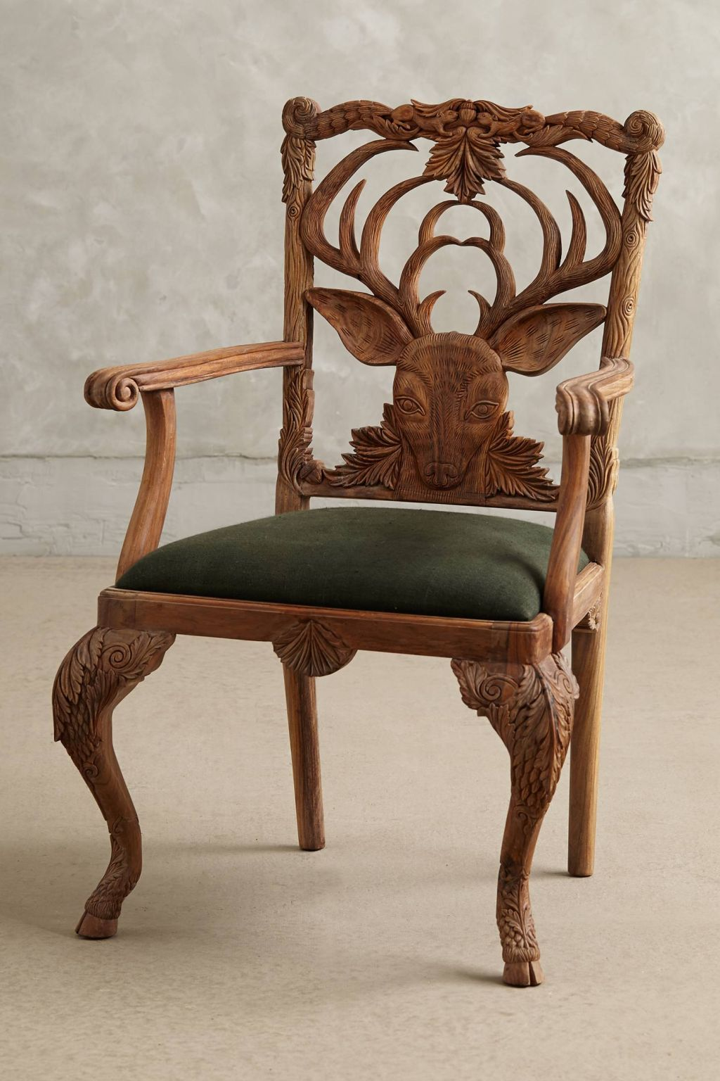 Marvelous Handcarved Menagerie Deer Armchair In Blue Handcarved Menagerie Deer  Armchair