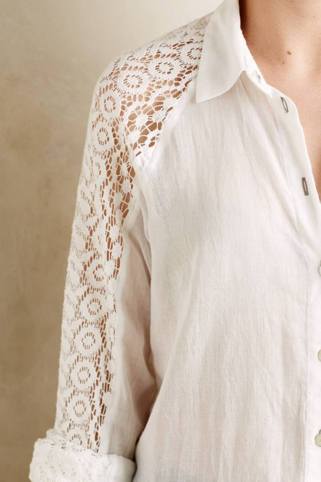Lace-Sleeve Buttondown by Holding Horses