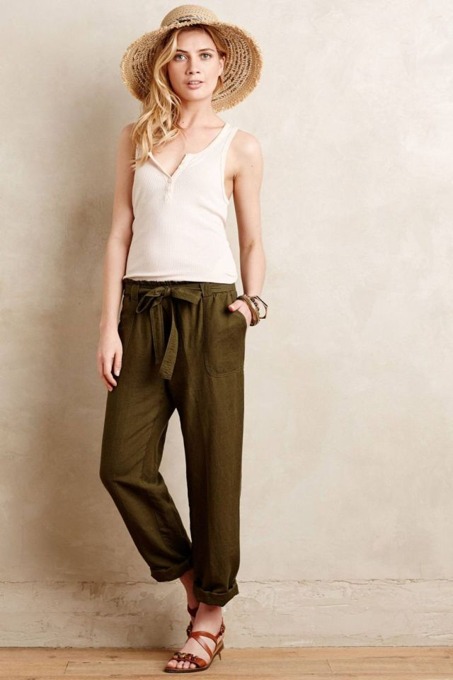 Linen Paperbag Trousers by Cartonnier