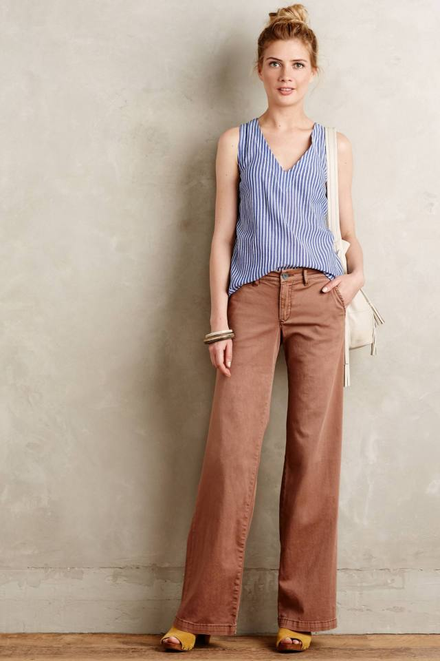 Hyphen Chino Wide-Leg Flares by Pilcro